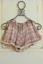 Tru Luv Morocco Tween Shorts in Blush Print