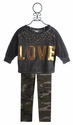 Tru Luv Stone Top for Tweens with Camo Legging