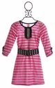 Tru Luv Striped Girls Tunic with Studded Belt