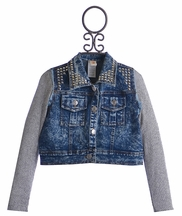 Tru Luv Studded Denim Knit Jacket (Size 12)