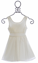 Tru Luv Tie Back Dress for Girls in Ivory Lace