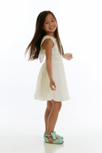 Tru Luv Tie Back Dress for Girls in Ivory Lace (4,6X,8)