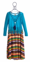 Tru Luv Tween Girls Fringe Top with Maxi Skirt (Size 10)