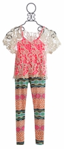 Tru Luv Tween Lace Top with Legging (Size 10)