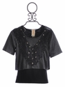 Tru Luv Tween Layered Top with Black Lace