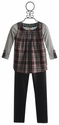 Tru Luv Tween Plaid Top with Pleather Leggings