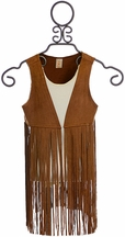 Tru Luv Tween Suede Vest with Fringe in Brown (MD9/10 & LG12/14)
