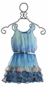 Truly Me Blue Chiffon Girls Dress with Belt