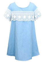 Truly Me Denim Dress with Lace