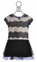 Truly Me Girls Elegant Party Dress in Black and Ivory (Size 16)