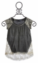 Truly Me Gray Top with Lace High Low Trim