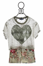 Truly Me Heart Top with Floral Shorts (7 & 12)