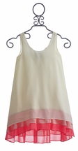 Truly Me Ivory Chiffon Dress with A Touch of Pink (Size 7)