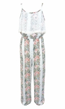 Truly Me Jumpsuit with Flowers and Lace