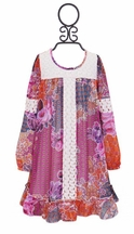Truly Me Long Sleeve Bohemian Dress Classic Crochet (Size 7)