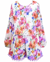 Truly Me Long Sleeve Floral Romper