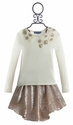 Truly Me Metallic Gold Skirt and Matching Top for Girls