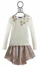 Truly Me Metallic Gold Skirt and Matching Top for Girls (7 & 8)