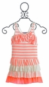 Truly Me Orange Neon Girls Dress with Ruffles