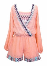 Truly Me Romper with Chevron Lace