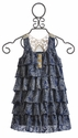 Truly Me Ruffled Navy Dress with Lace Back (Size 7)