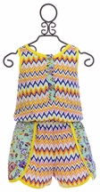 Truly Me Sleeveless Romper in Chevron (4,5,6,6X,8,12)