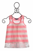Truly Me Stripe Tween Top with Lace (8, 10, 14)