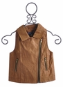 Truly Me Tan Pleather Motorcycle Vest (Size 16)