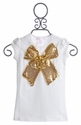 Twirl and Co Girls Holiday Tank with Large Gold Bow