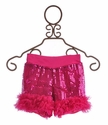 Twirl & Co Girls Dazzling Sequin Shorts Fuchsia