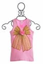 Twirl & Co Girls Pink Tank with Lime Ribbon Bow