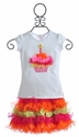 Twirl & Co Little Girls Birthday Top with Skirt