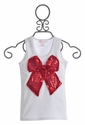 Twirl & Co Red Sequin Bow Tank for Girls