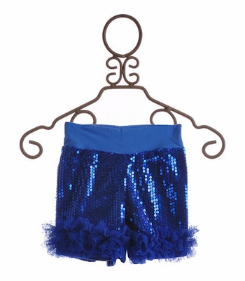 Twirl & Co Sequin Shorts for Girls in Royal Blue