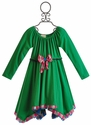 Twirls and Twigs Girls Green Dress with Sharkbite Hem