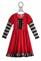 Twirls and Twigs Girls Red Dress with Striped Yoke