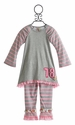 Twirls and Twigs Little Girls Outfit with Pink Stripe