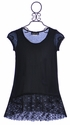 Un Deux Trois Black Lace Hem Tunic for Girls