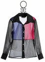 Un Deux Trois Color Block Tween Button Blouse