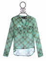 Un Deux Trois Girls Hi Lo Top in Green Plaid