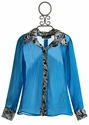 Un Deux Trois Sheer Blouse for Tweens in Turquoise (Size 8)