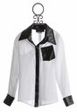 Un Deux Trois Sheer Blouse for Tweens in White and Black (7, 8, 10)
