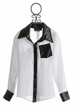 Un Deux Trois Sheer Blouse for Tweens in White and Black (8 & 10)