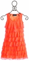 Un Deux Trois Tiered Neon Orange Tween Dress (Size 7)