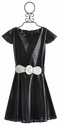 Un Deux Trois Trendy Tween Dress in Black Pleather