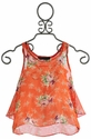 Un Deux Trois Tween Floral Tank with Ruffled Back