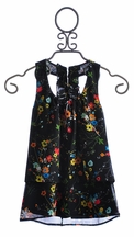 Un Deux Trois Tween Girls Designer Top Black Floral (Size 7)
