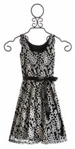 Un Deux Trois Tween Girls Dress Black and White Lace (Size 7)