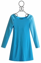 Un Deux Trois Tween Turquoise Dress with Pleather Sleeves (Size 7)