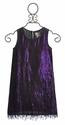US Angels Girls Fringe Dress in Shimmer Plum